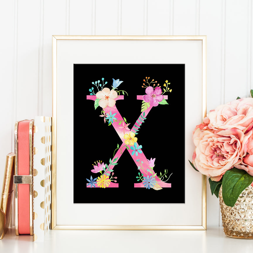 pink floral letter X, watercolor floral alphabet X, girl room deco, pink flowers