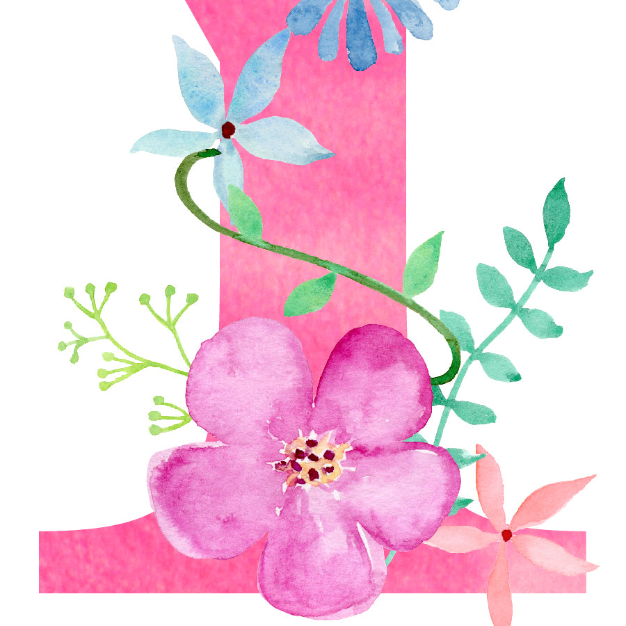 pink flowers, watercolor floral letter y, name initial y instant download