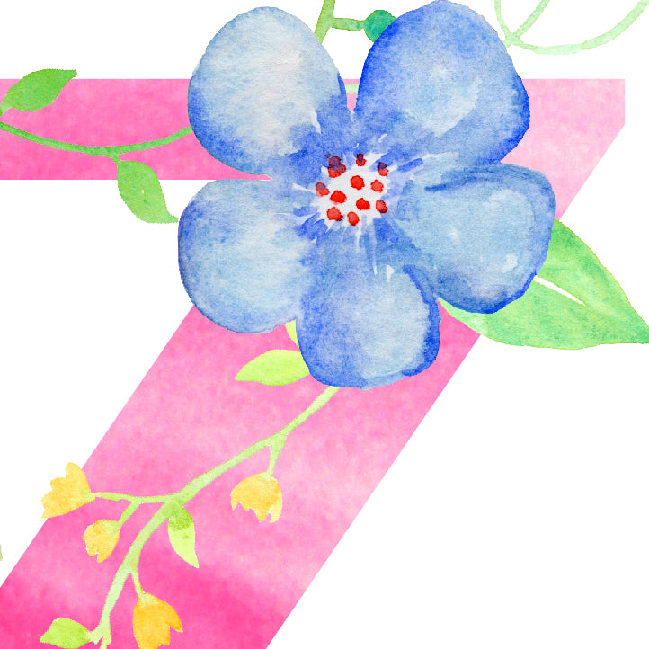 watercolor floral letter Z, corner croft print