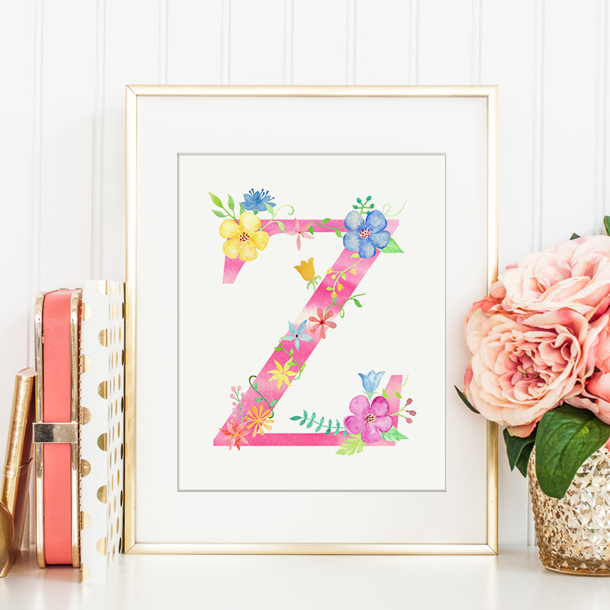 Watercolor pink floral letter Z, name initial Z, girl room deco, girl name initial, Z printable