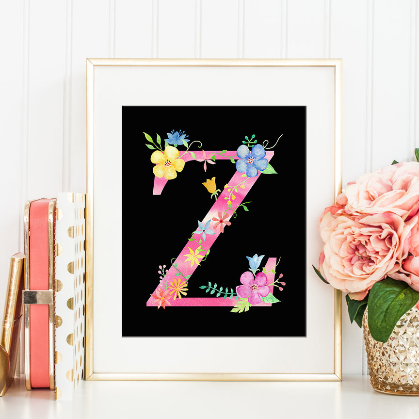 watercolor floral letter Z, name initial Z, capital letter Z, z printable