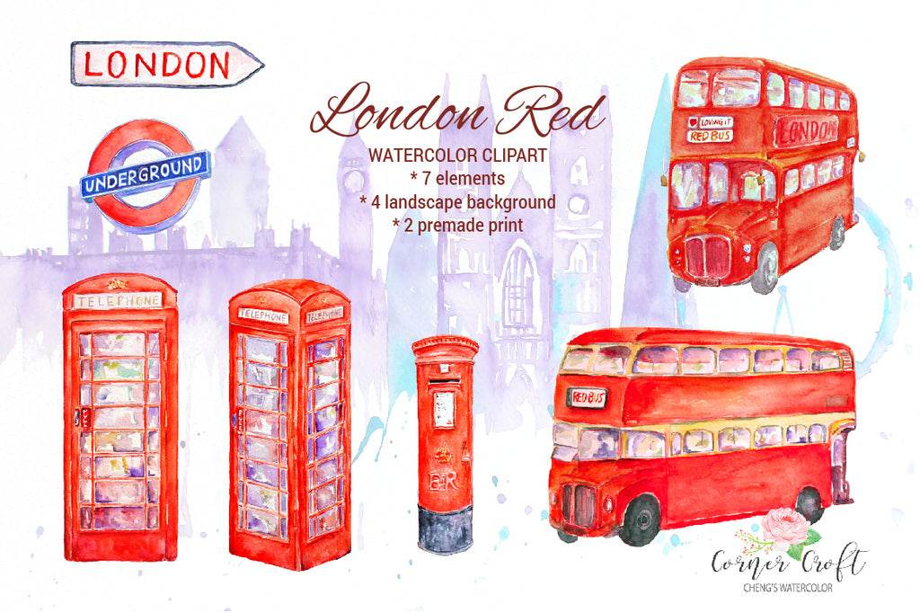 watercolor clipart London Red, red bus, Royal Mail box, London landscape painting