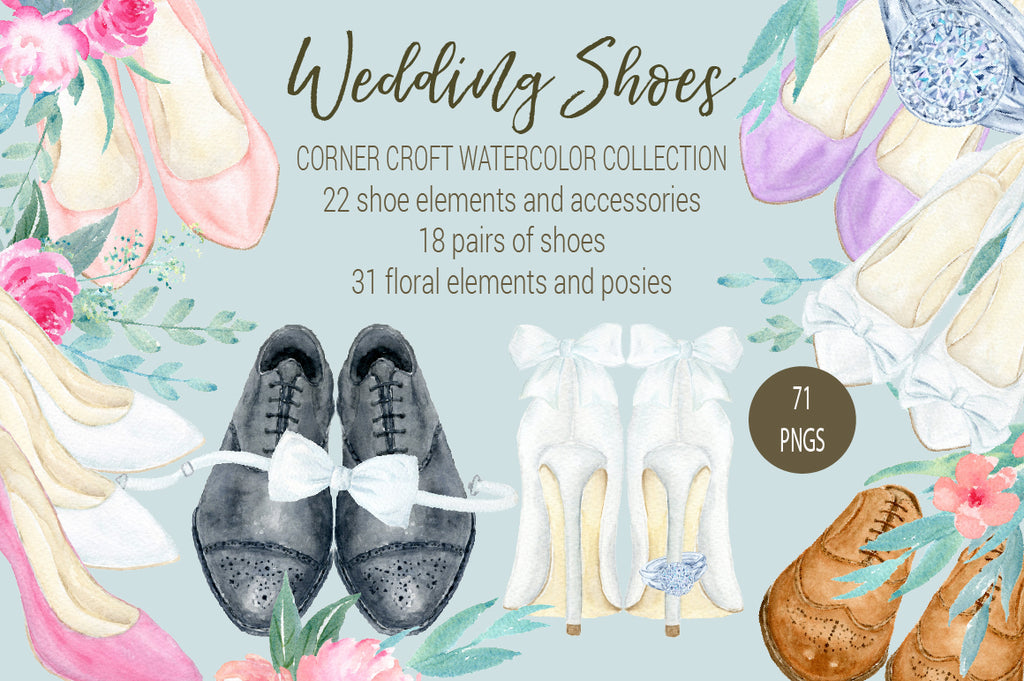watercolor wedding shoes collection, white wedding shoes, high heel shoes, white, peach, pink and purple shoes illustration