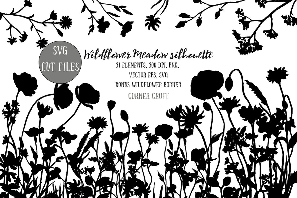 wildflower meadow illustration, silhouette, vector eps, svg