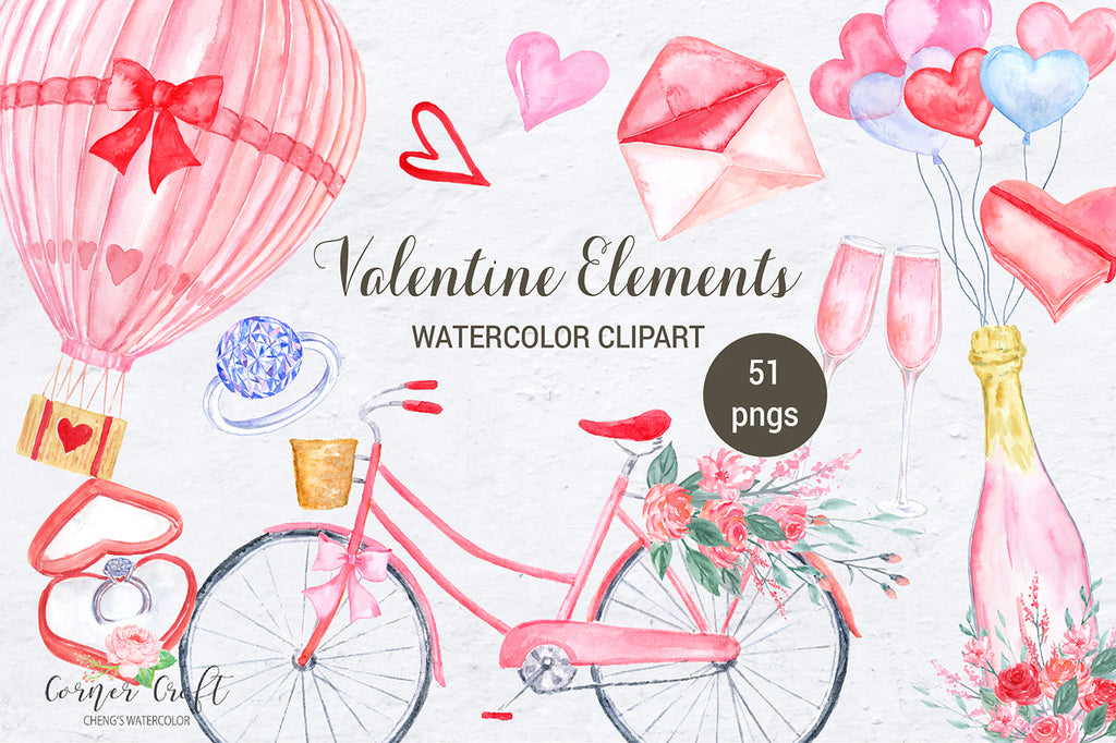 Watercolor clipart Valentine Elements, pink and red elements for engagement, wed dinging, corner croft watercolour design