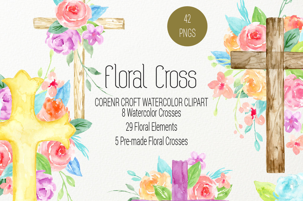 watercolor clipart floral cross, cross clipart, religious illustration.