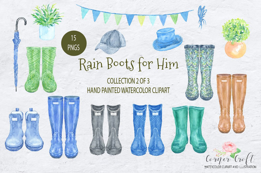 watercolor clipart set rain boots for him, screen shots, hand painted wellies, men's boots.