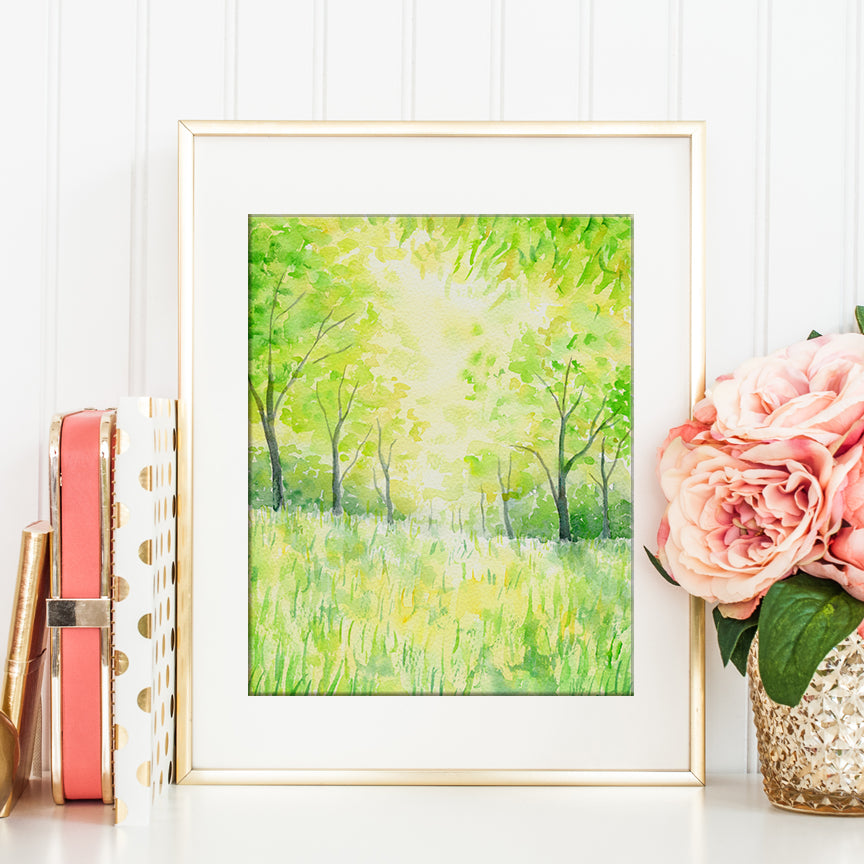digital print of lime green woodland, fresh green woodland, art print