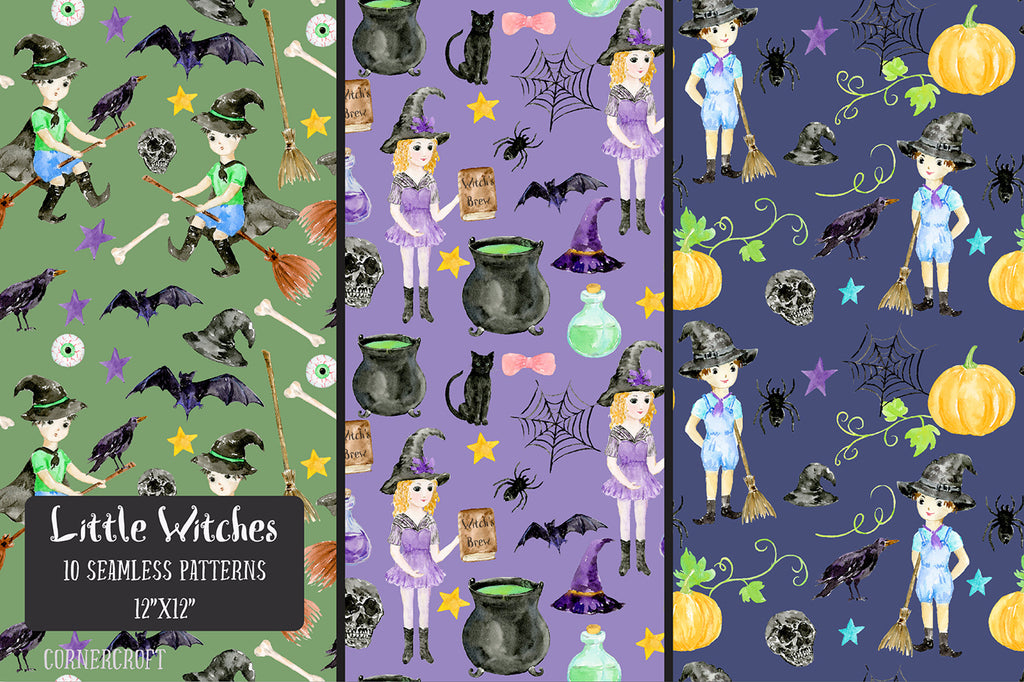 watercolor digital paper little witches, nursery pattern, halloween pattern, seamless pattern