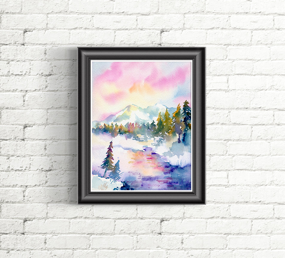 Watercolor painting of winter stream, forest and snow mountain, instant download