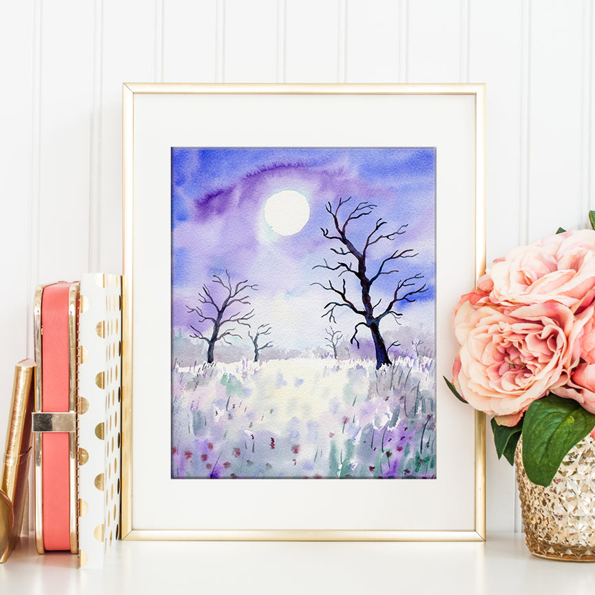 watercolor painting of purple themed moon light woodland, digital print