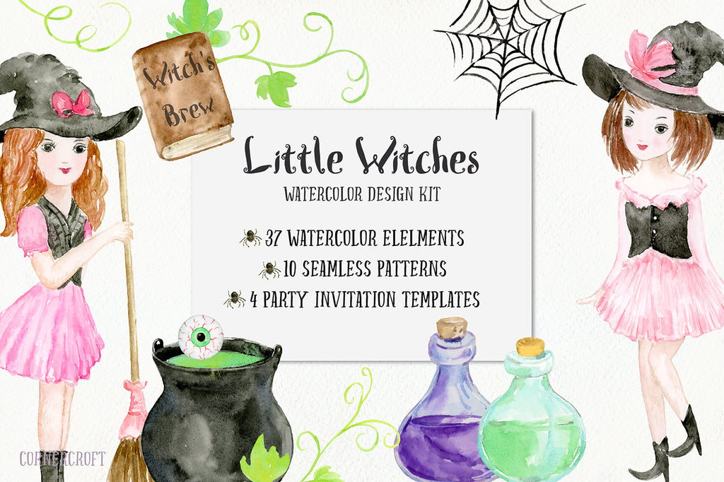 Halloween Witch design kit, patterns, boy and girl in Halloween costumes, halloween elements