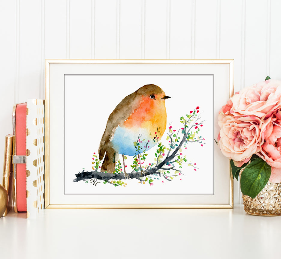 watercolor animal illustration, Christmas gift, watercolor robin, instant download