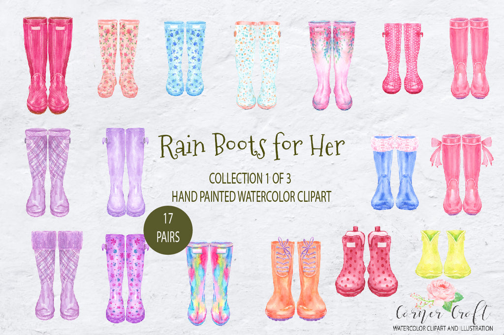 rain boots, watercolor wellies, welly collection, my family print, watercolor clipart,