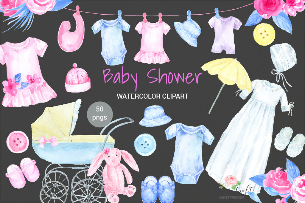 Watercolour baby shower clipart, pink toy, pink dress, white Christening gown, baby shoes, pram, crib, washing line