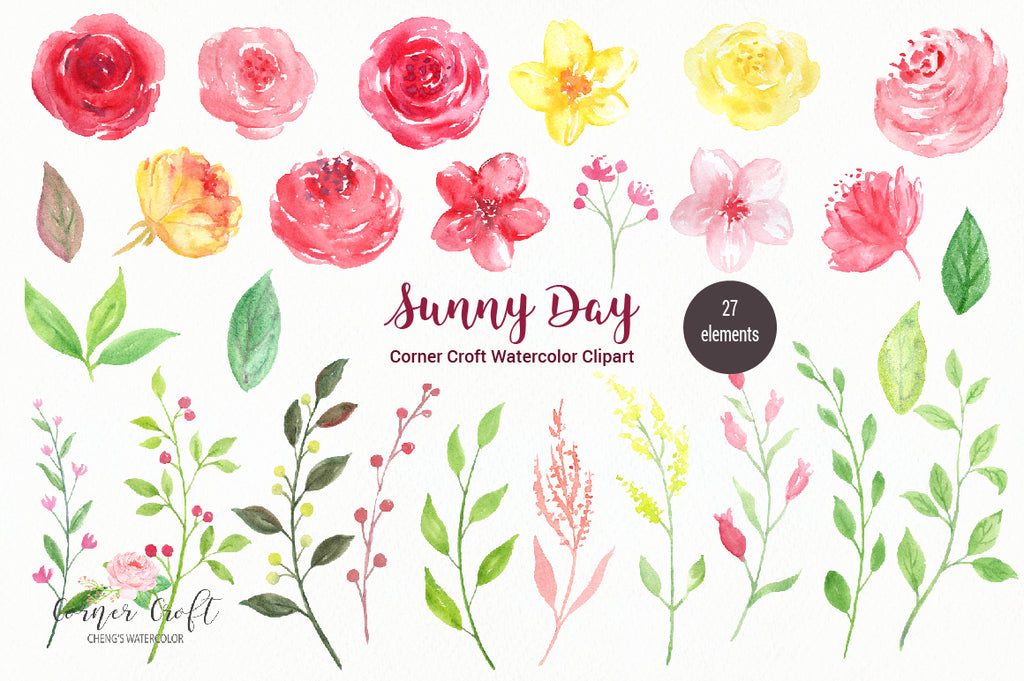 free download, watercolor clipart, Sunny day, watercolor flowers, pink, red, yellow