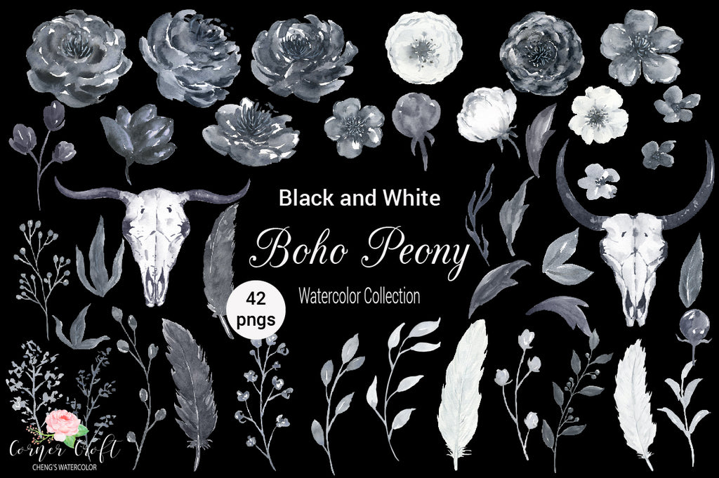 black peony element, watercolor clipart, part of collection, boho peony