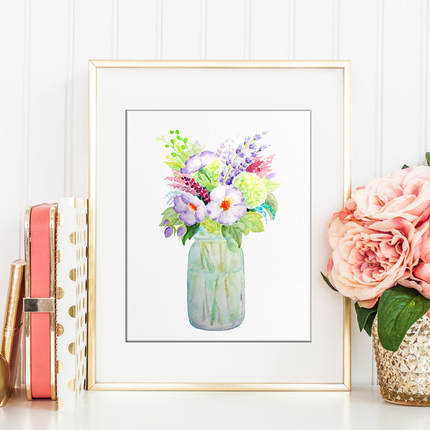 watercolor mason jar print, wild flowers, vase of flower, printable