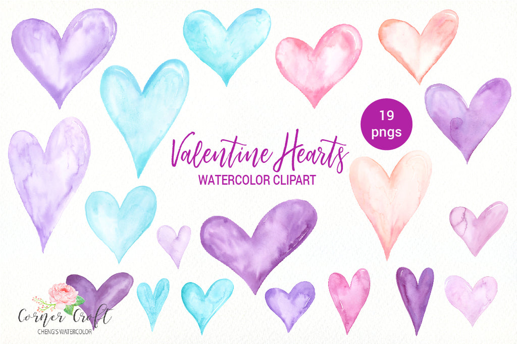 Valentine hearts for instant download, pink heart, blue heart, Purple Heart, watercolour heart