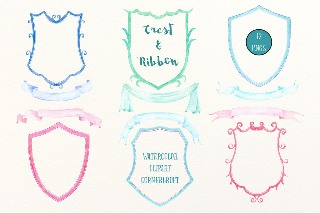 Hand painted watercolor crest frames and ribbons for instant download, diy wedding crest, family crest, branding
