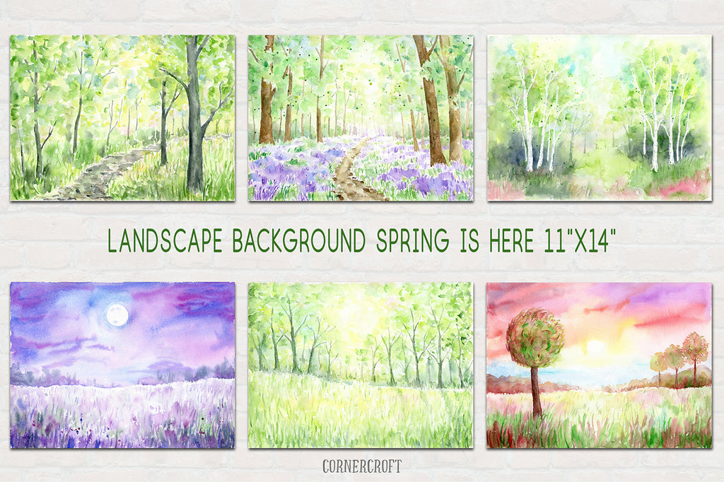 watercolor landscape background, watercolor landscape painting, spring woodland, bluebell wood