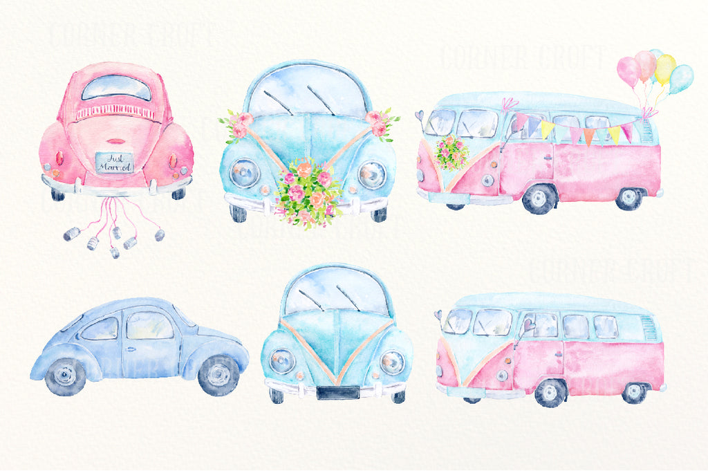wedding car, wedding camper van, blue and pink, watercolour illustration, wedding map