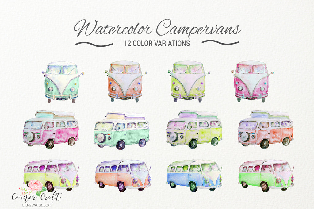 Watercolor clipart vintage campervans, leisure vehicles, camper illustation