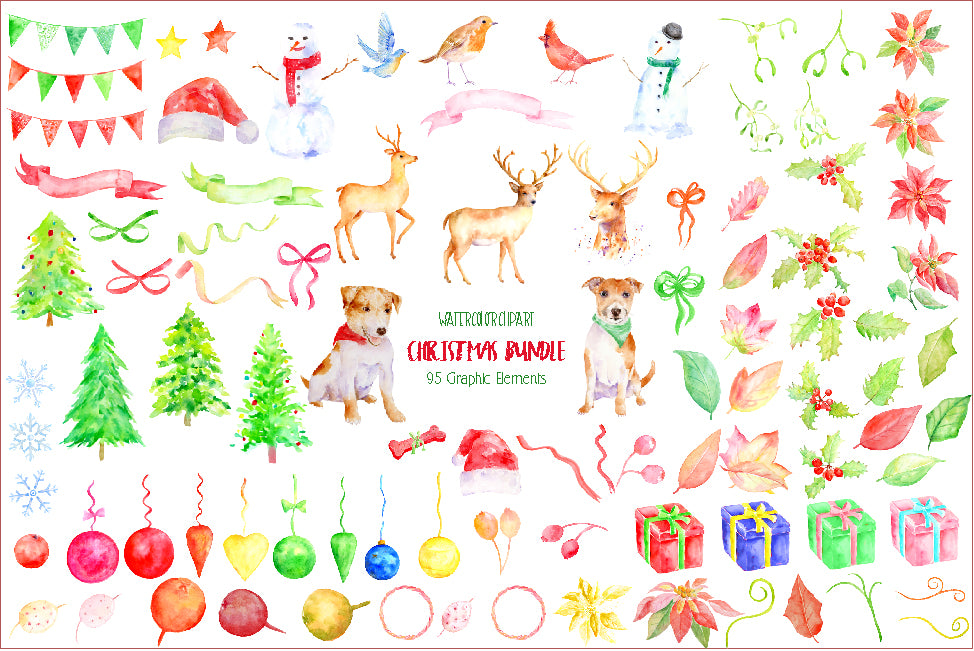 Watercolor Christmas Bundle, Christmas celebration pack, deer, dog, bird, holly