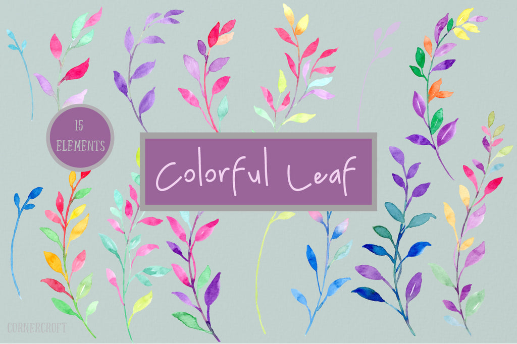 Watercolor color leaf design elements, corner croft design.