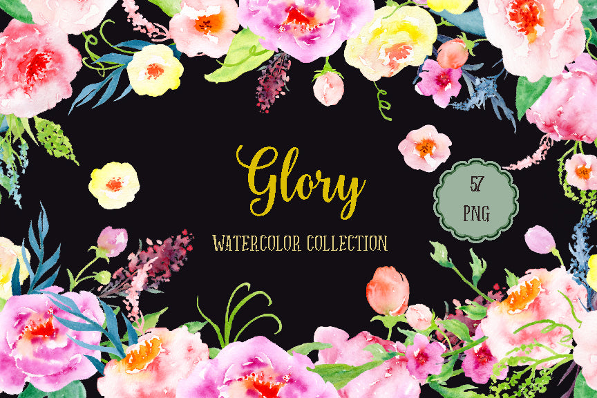 Watercolour Collection Glory, pink and purple peony, floral wreaths, floral posies, instant download
