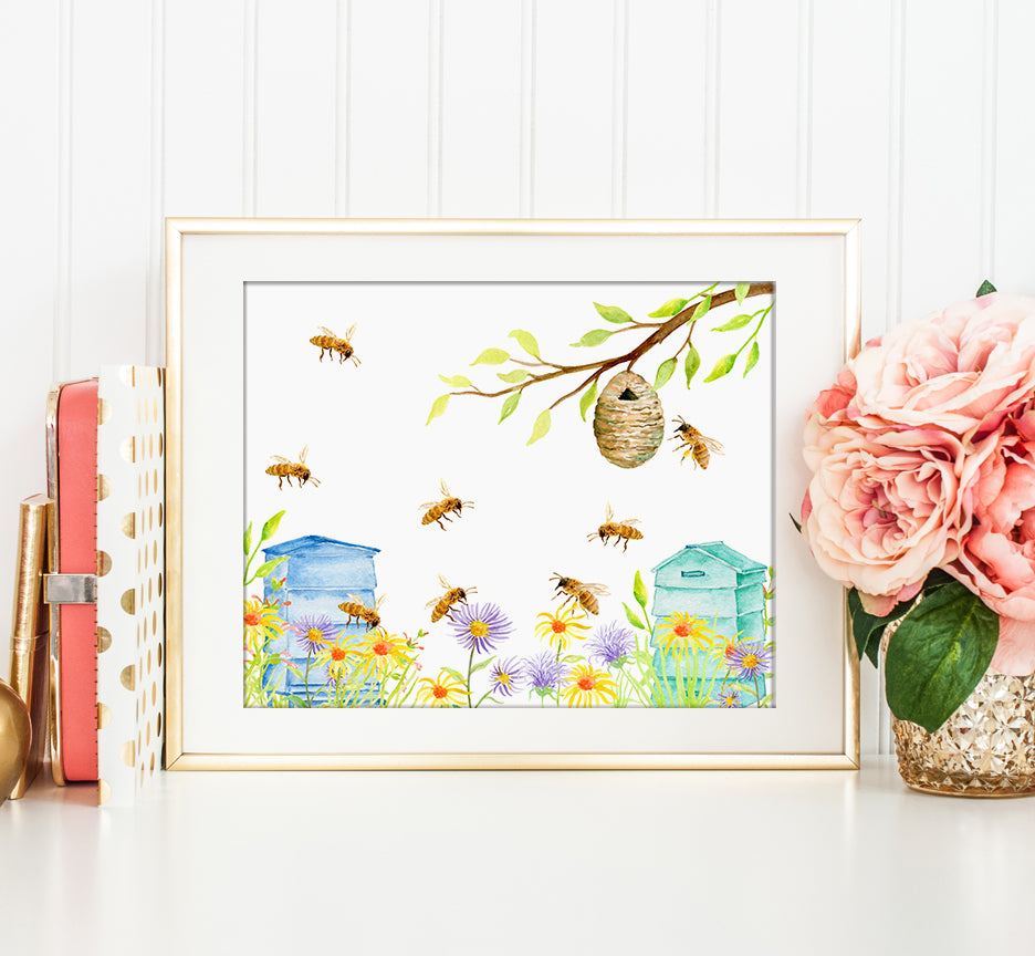watercolor bee keeping, bees, hives and wild flowers printable