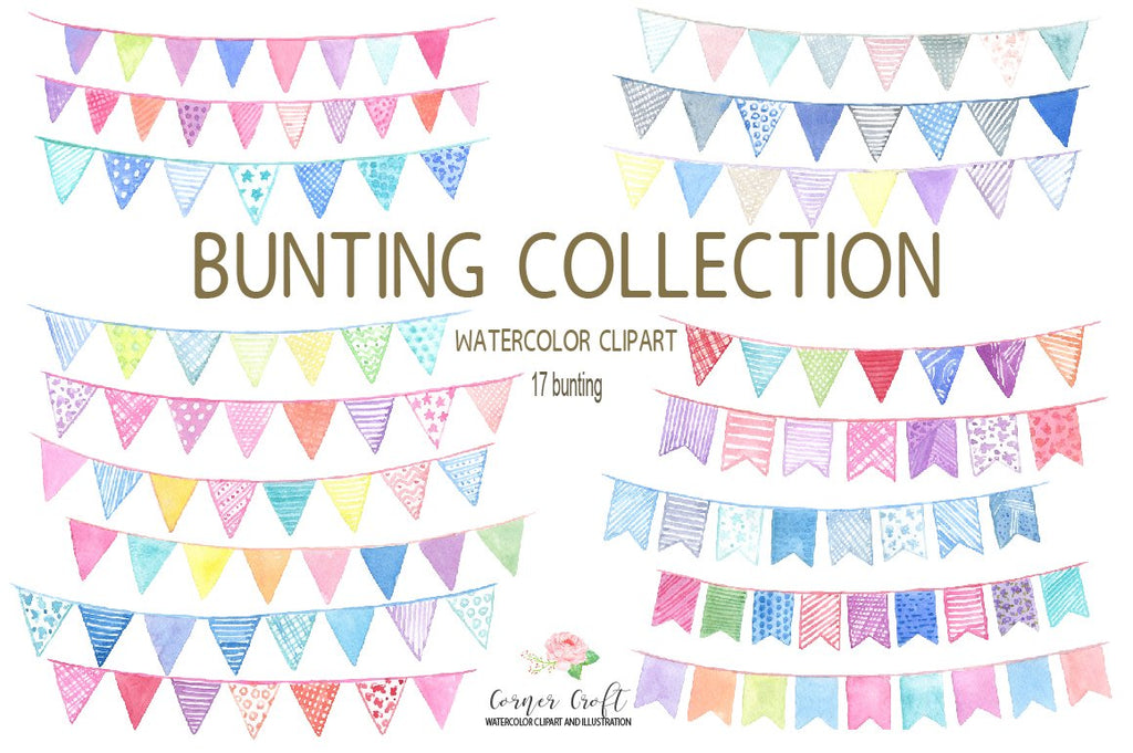 watercolor bunting, bunting, bunting clipart, clip art, corner croft art, digital download, blue bunting, pink bunting, decorative bunting, watercolour bunting