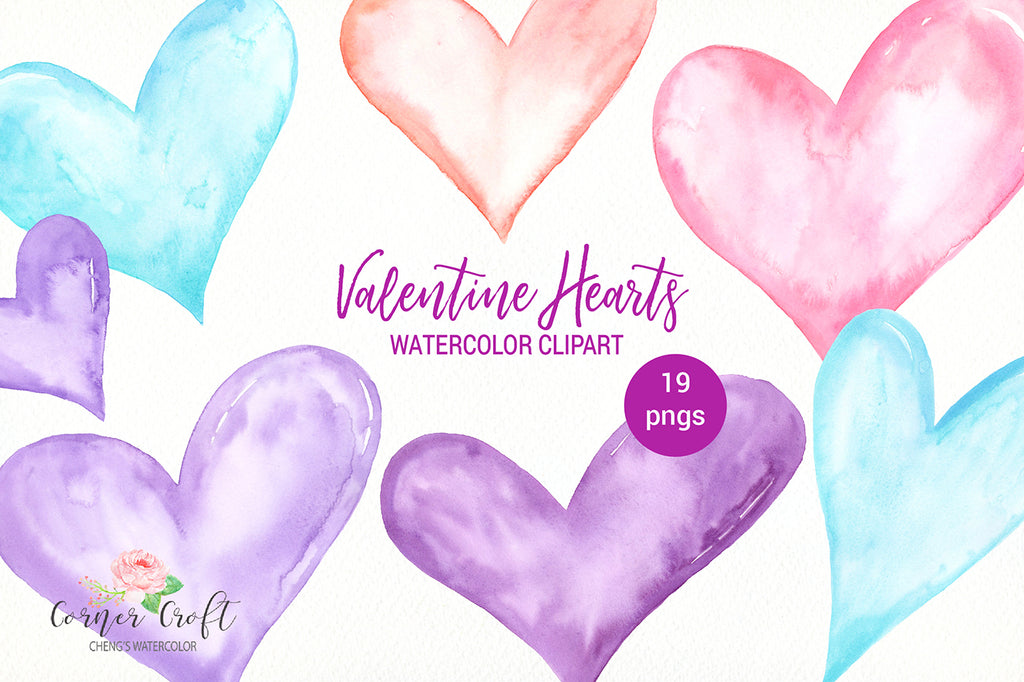 watercolor hearts, watercolor clipart valentine hearts, pastel hearts