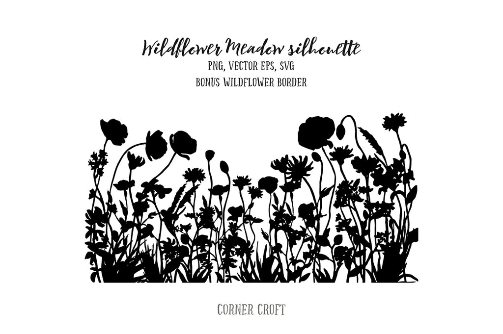 wild flower meadow, wildflowers, poppy, corn flower, instant download