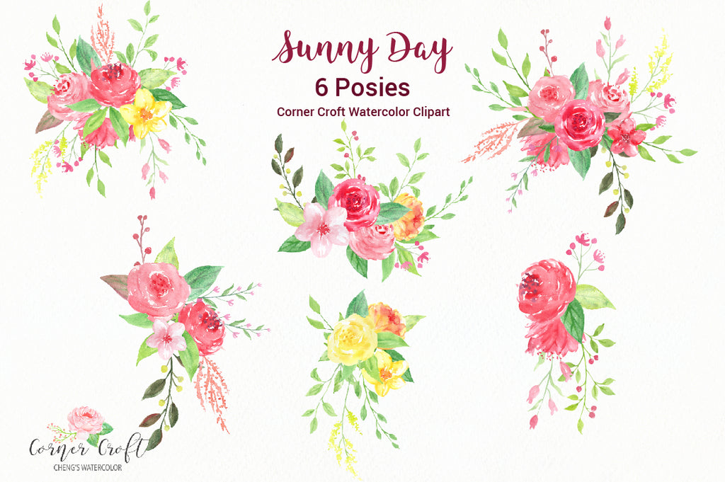 corner croft free watercolor graphics Sunny day, yellow, red, flowers,