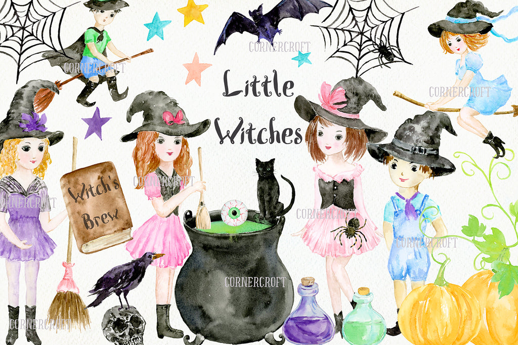 halloween elements of black cat, bat, spiders, spiders web, eyeball, pumpkins, witch's brooms, witch's hats, buntings and bottles