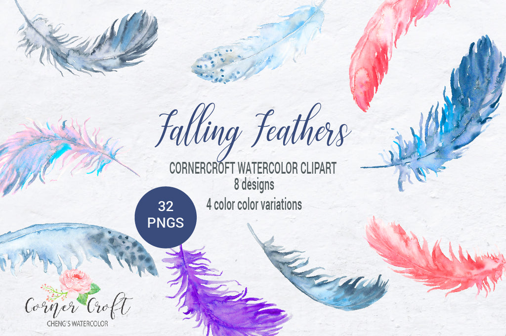 watercolor clipart falling feathers, feather illustration, watercolour feather, abstract feather, feather for art print