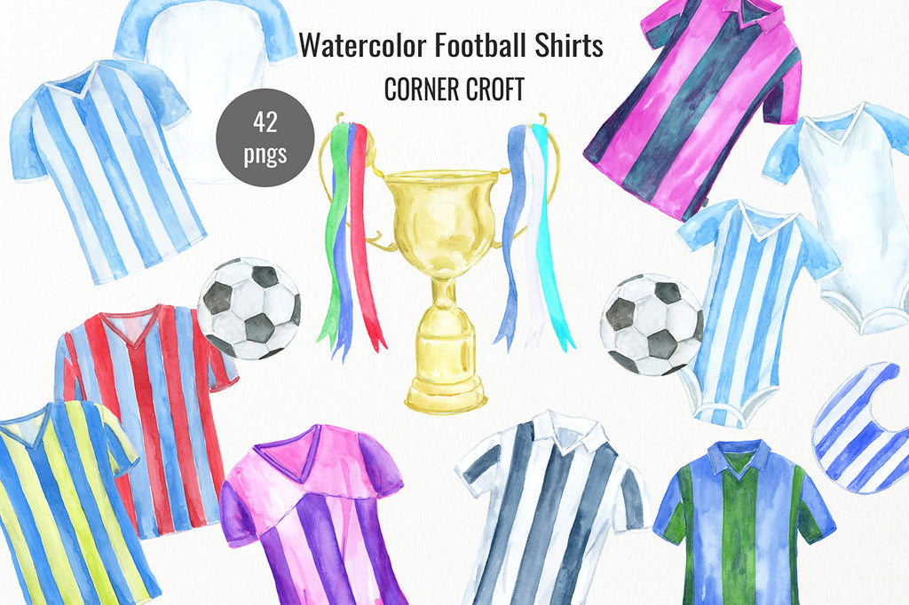 watercolour football shirts, shirt illustration, soccer shirts, my family print, digital download