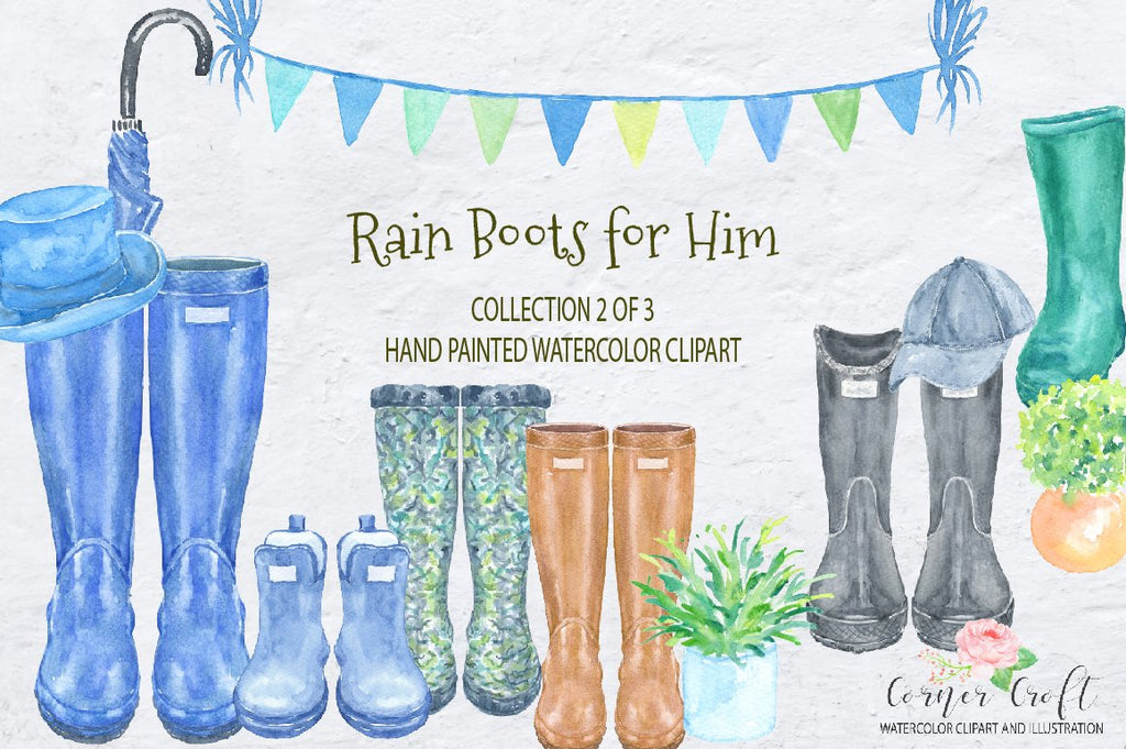 watercolor rain boots for him, men's boots, wellies, blue wellies, men's hat, watercolor clipart, Hand painted watercolor wellies