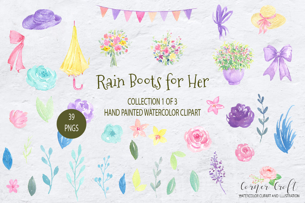floral elements, rain boots for her, watercolor clipart, corner croft
