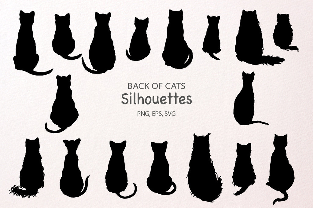 Back of Cats Silhouettes instant download