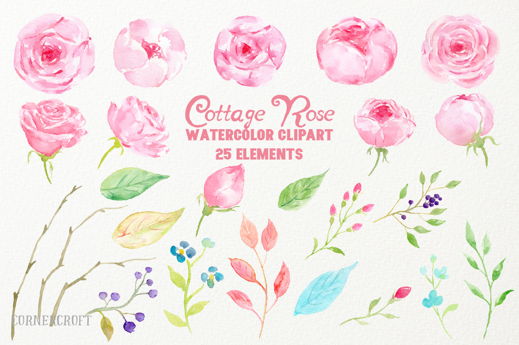romantic pink rose clipart, wedding rose illustration