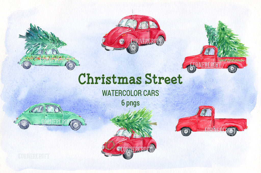 watercolor Christmas collection, Christmas streets, American houses, red car, red truck, ribbons, street signs.