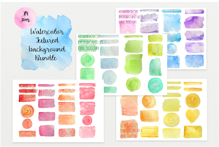 watercolor texture bundle, blue, green, yellow, pink, red, orange