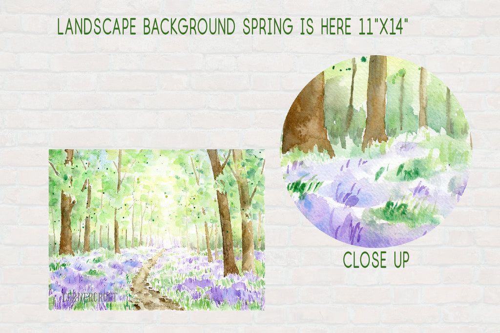 watercolor spring woodland, bluebell wood, large background, instant download