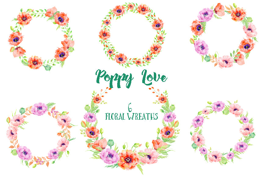 watercolor orange and red poppy wreath, logo design elements,  floral wreaths