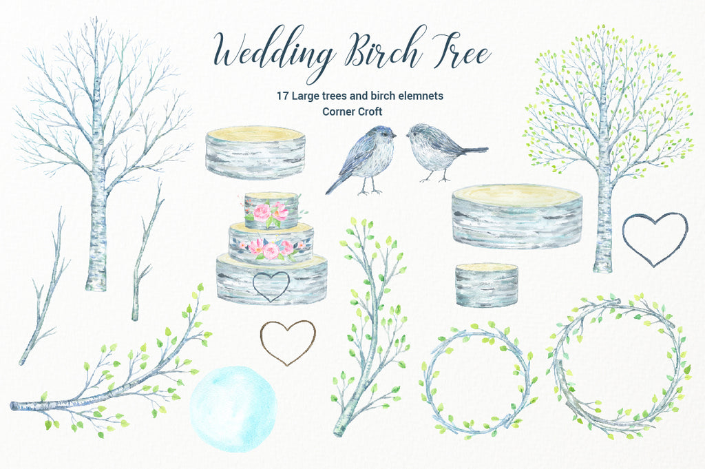 watercolour log cake, birch logs, birch branch, watercolor birds, tree clipart,