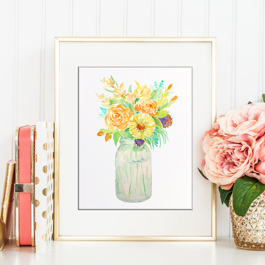 Mason jar flowers, vase of flowers, yellow flowers, printable,