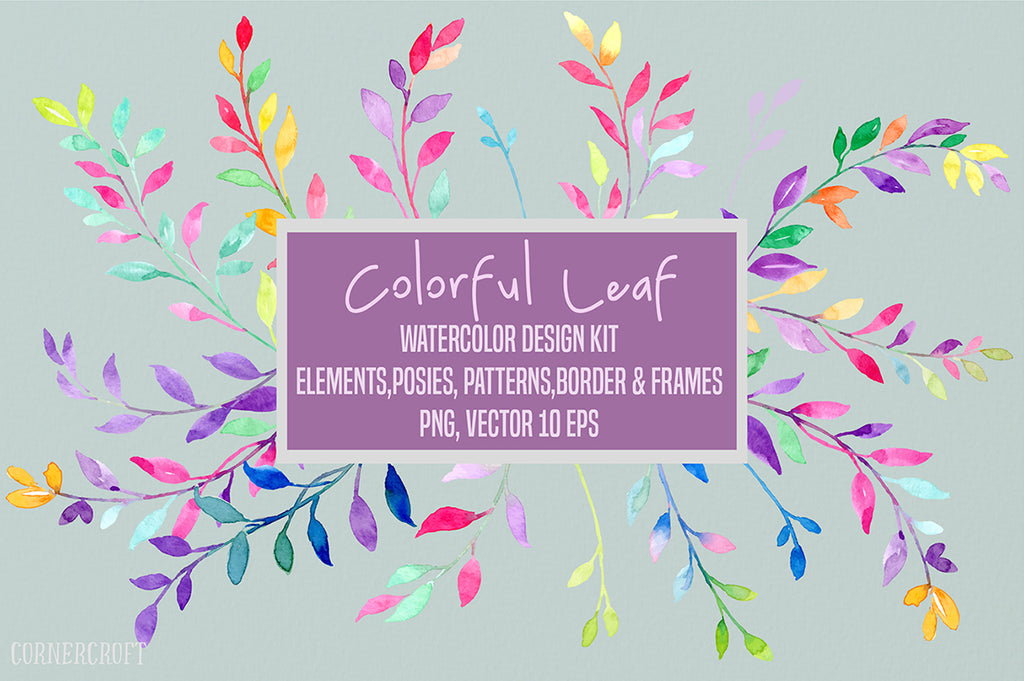 Watercolor Leaf Design Kit, vector format, png format,