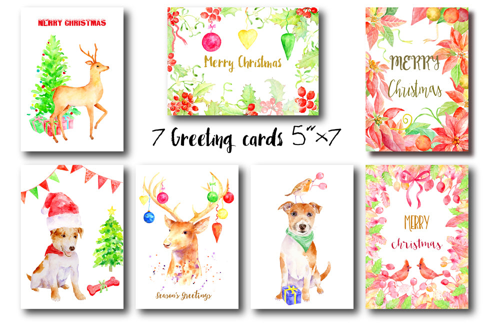 watercolor christmas cards, instant download